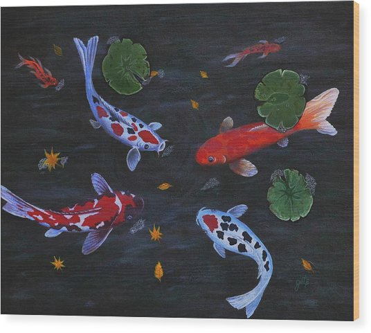 Koi Fishes Original Acrylic Painting Wood Print