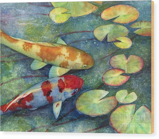 Koi Garden Wood Print
