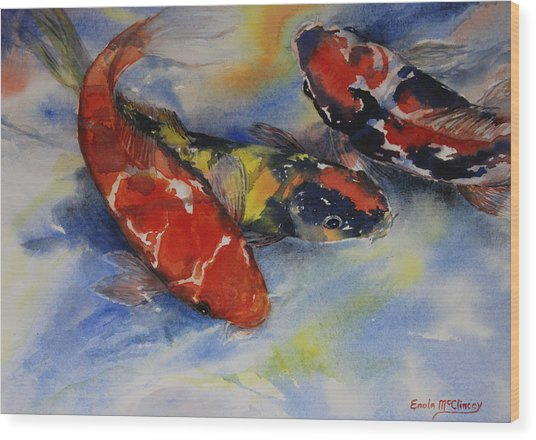 Koi Party Wood Print by Enola McClincey