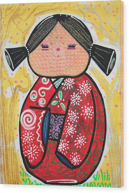 Kokeshi Wood Print by Laura Barbosa