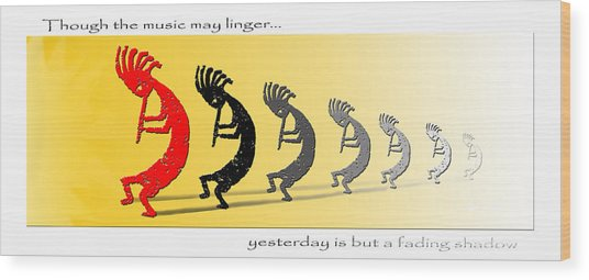 Kokopelli Fading Shadows - Poster Wood Print