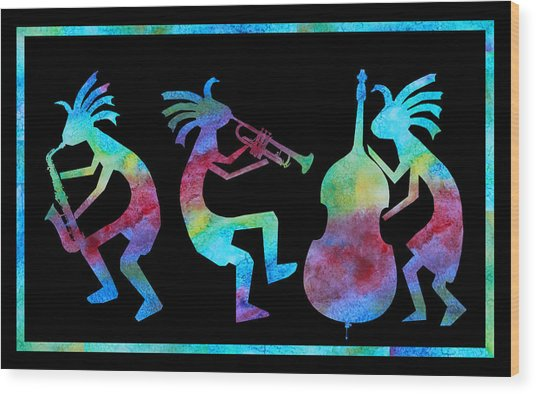 Kokopelli Jazz Trio Wood Print