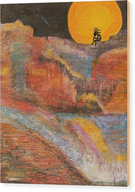 Kokopelli On A Marmalade Moon Night Revisited Wood Print by Anne-Elizabeth Whiteway