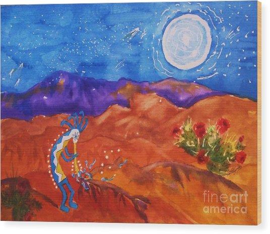 Kokopelli Playing To The Moon Wood Print