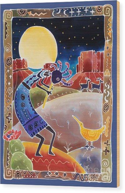 Kokopelli Sings Up The Moon Wood Print