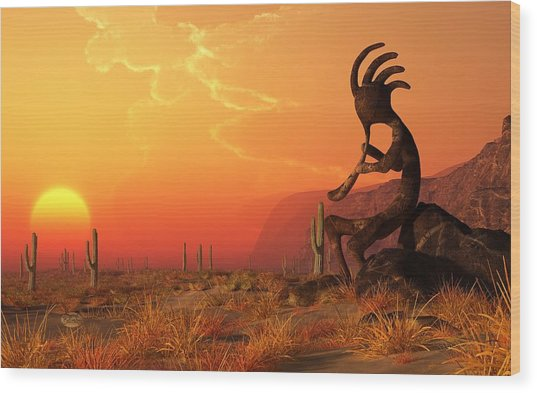 Kokopelli Sunset Wood Print