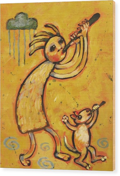 Kokopelli With Musical Dog Wood Print