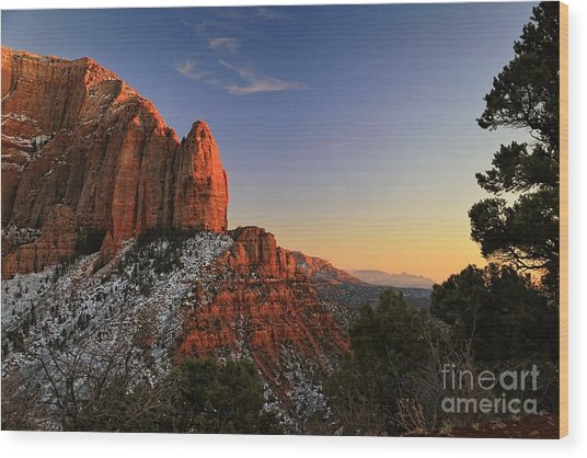 Kolob Sunset Wood Print