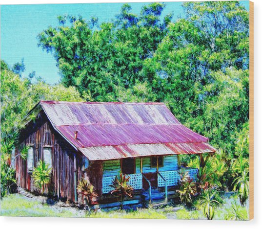 Kona Coffee Shack Wood Print