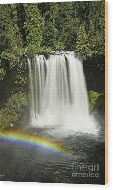 Koosah Falls And Rainbow Wood Print