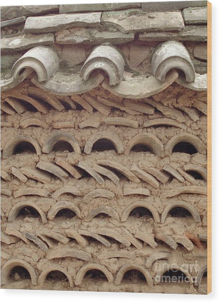 Korea Folk Architecture - Curved Tiles Wood Print