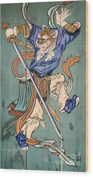 Korean Temple Decoration Figure - Korean Tiger Wood Print