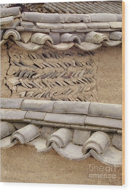Korean Village Photograph - Mud Wall Wood Print