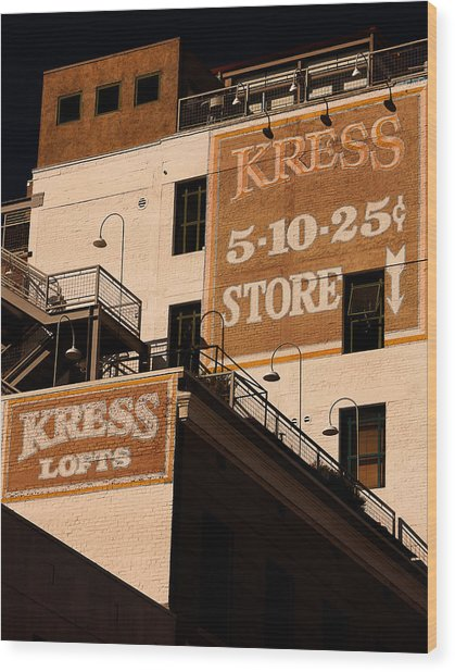 Kress Ghost Signs By Denise Dube Wood Print