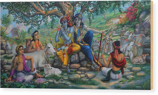 Krishna And Balaram With Friends On Govardhan Hill Wood Print