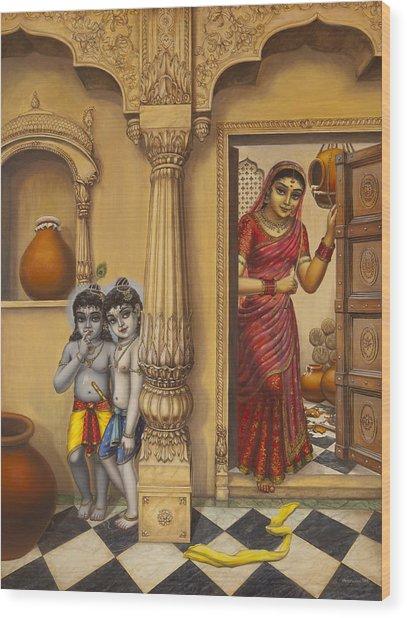 Krishna And Ballaram Butter Thiefs Wood Print