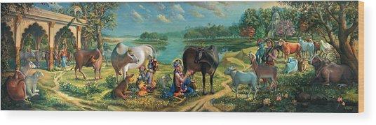 Krishna Balaram Milking Cows Wood Print