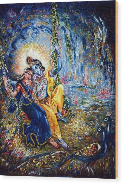 Krishna Leela Wood Print