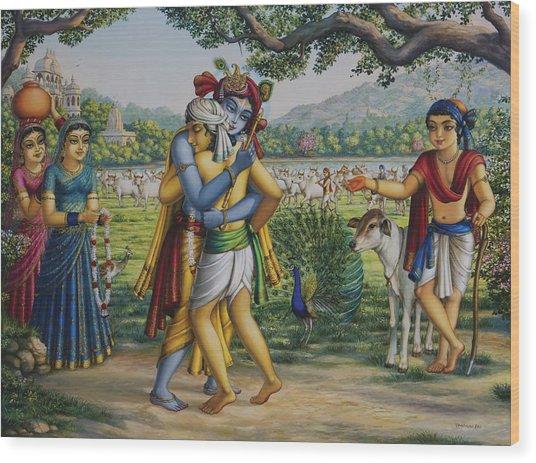 Krishna With His Dear Friend  Wood Print