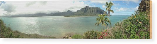 Kualua Kauai Panoramic Wood Print by Tropigallery -