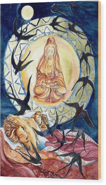 Kuan Yin  Born From A Ray Of Light  Wood Print by Trudi Doyle