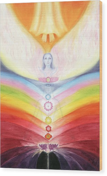 Kundalini Awakening By The Descent Of The Truth Consciousness Wood Print by Shiva Vangara