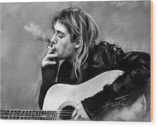 Kurt Cobain Guitar  Wood Print