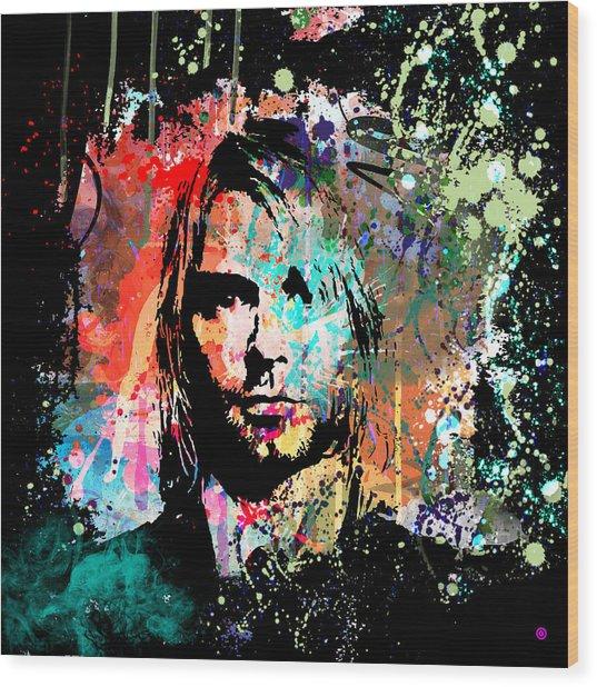 Kurt Cobain Portrait Wood Print