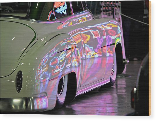 Kustom Neon Reflections Wood Print