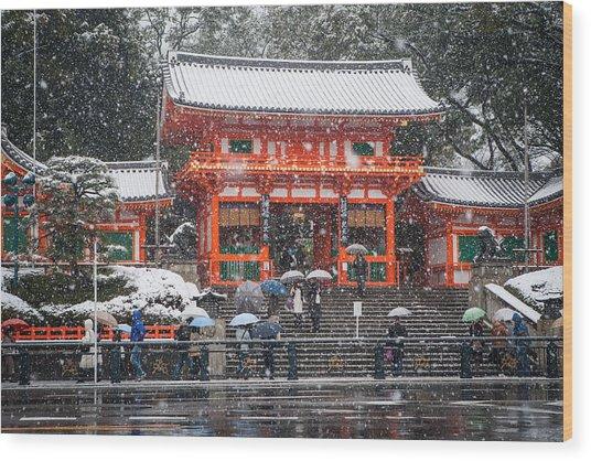 Kyoto Snowfall Wood Print