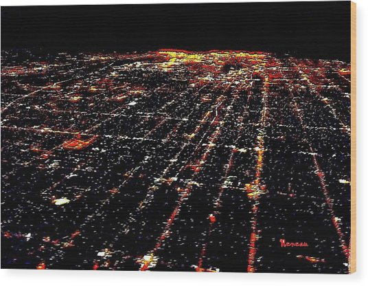 L A Skyscape At Night Wood Print