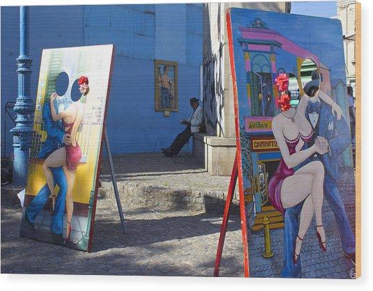 La Boca Blue Wood Print