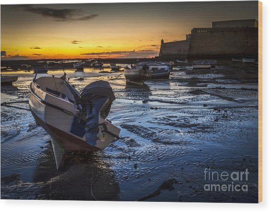 La Caleta Beach Cadiz Spain Wood Print