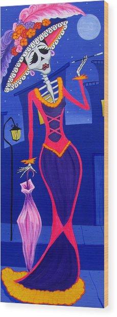 La Catrina Wood Print by Evangelina Portillo