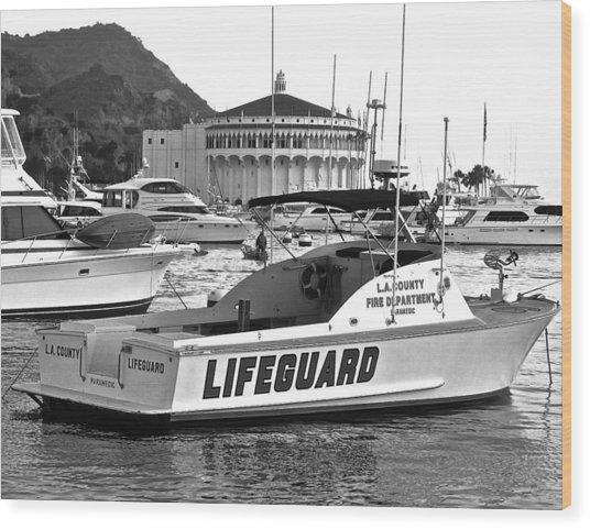 L A County Lifeguard Boat B W Wood Print