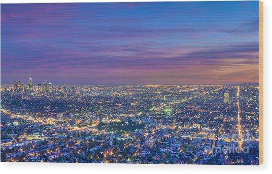 La Fiery Sunset Cityscape Skyline Wood Print