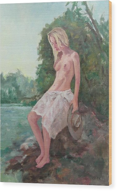 La Fille To The Pond Wood Print by Alain Lutz