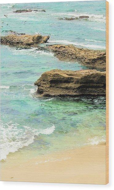La Jolla Beach Rocks Wood Print