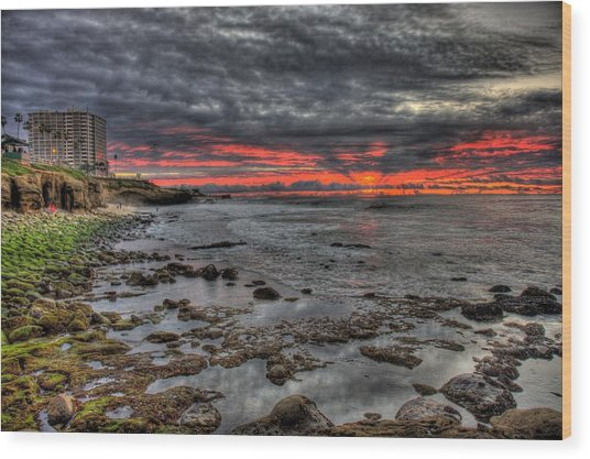 La Jolla Cove Sunset Wood Print