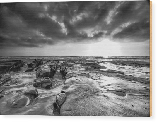 La Jolla In Black And White Wood Print