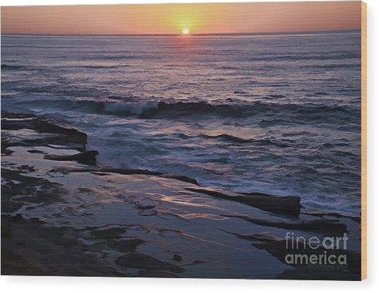 La Jolla Sunset Reflection Wood Print