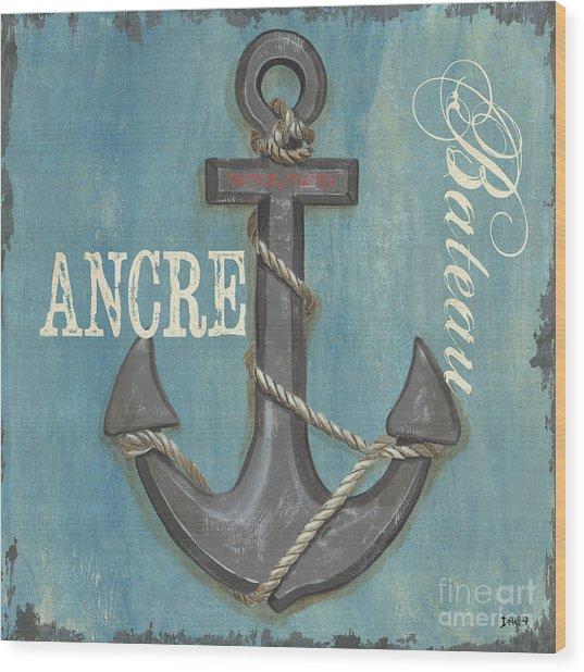 La Mer Ancre Wood Print