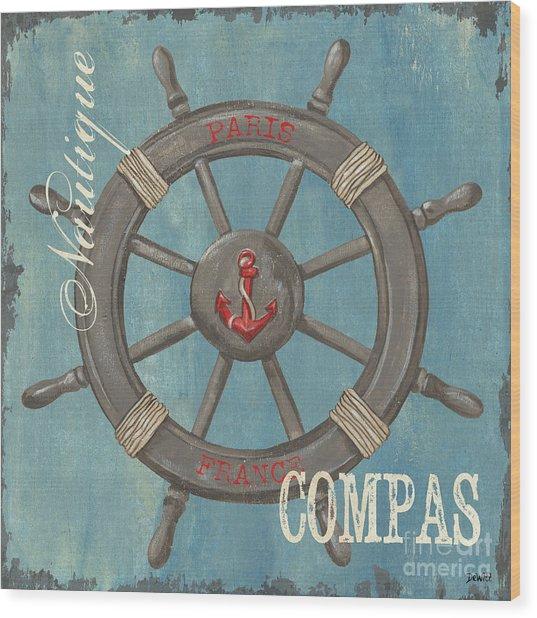 La Mer Compas Wood Print