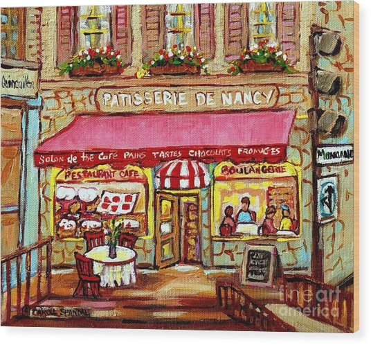 La Patisserie De Nancy French Pastry Boulangerie Paris Style Sidewalk Cafe Paintings Cityscene Art C Wood Print