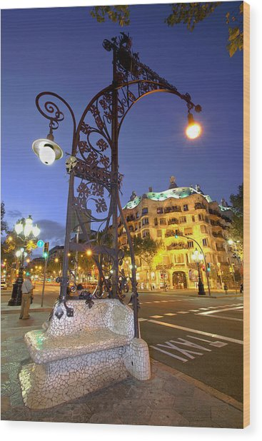 La Pedrera From Gaudi Wood Print by Javier Fores