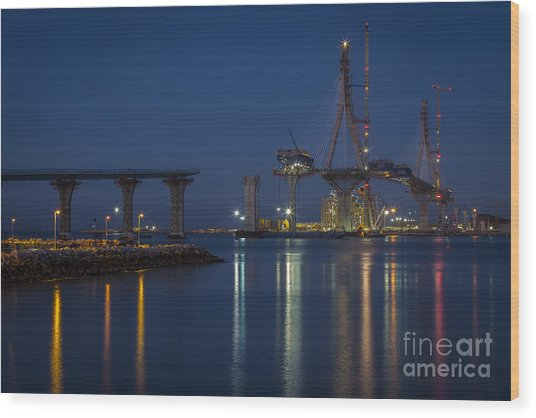 La Pepa Bridge Cadiz Spain Wood Print