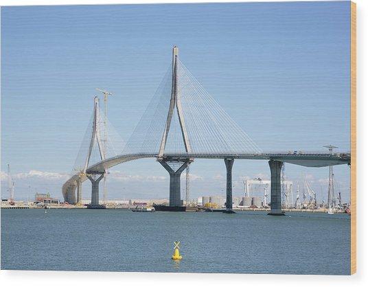 La Pepa Bridge Under Construction Wood Print by Iñaki Respaldiza
