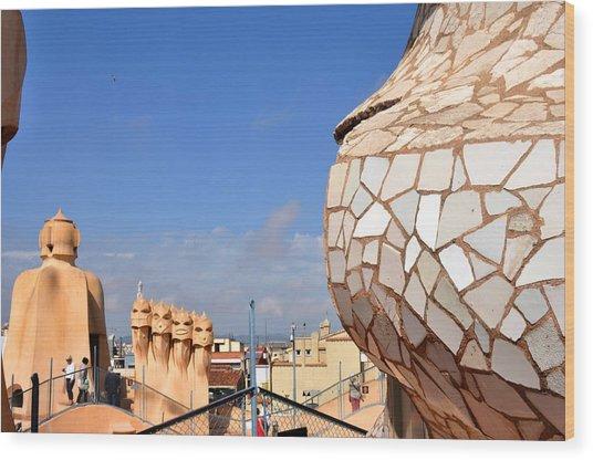 La Predrera Gaudi House Barcelona Wood Print by Diane Lent