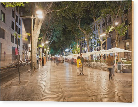 La Rambla At Night  In Barcelona Wood Print