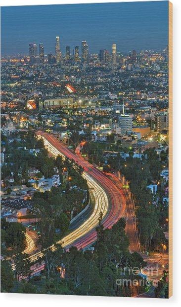 La Skyline Night Magic Hour Dusk Streaking Tail Lights Freeway Wood Print